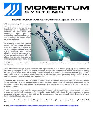 Reasons to Choose Open Source Quality Management Software