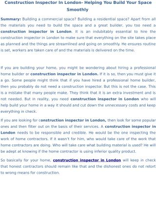 Construction Inspector In London- Helping You Build Your Space Smoothly