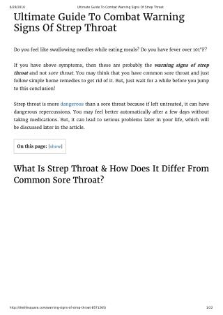 Ultimate Guide To Combat Warning Signs Of Strep Throat