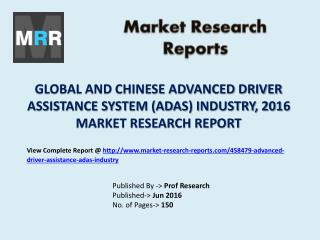 Advanced Driver Assistance System (ADAS) Market Share for Global and Chinese Industry Forecasts to 2021