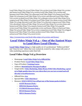 Local Video Ninja Vol.4 Review - (FREE) Bonus of Local Video Ninja Vol.4