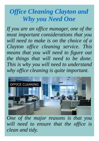 Office Cleaning Clayton and Why you Need One
