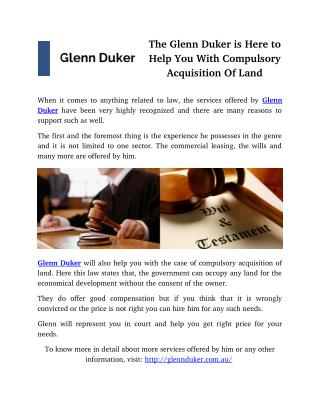 The Glenn Duker is Here to Help You With Compulsory Acquisition Of Land