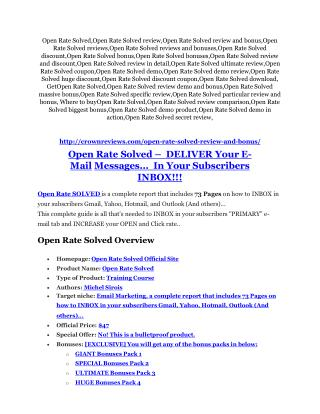 Open Rate Solved Review – (Truth) of Open Rate Solved and Bonus