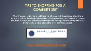 TIPS TO SHOPPING FOR A COMPLETE SUIT