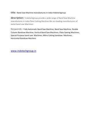Band Saw Machine manufacturers-Indotech