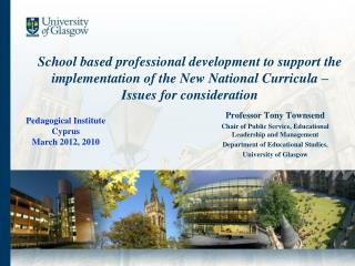 School based professional development to support the implementation of the New National Curricula – Issues for conside