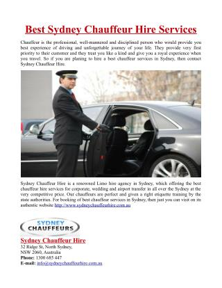 Best Sydney Chauffeur Hire Services