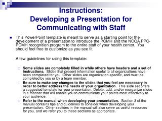 Instructions:  Developing a Presentation for Communicating with Staff