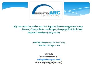 Big Data Market: high demand for analyzing huge data patterns for decision making using big data technologies.