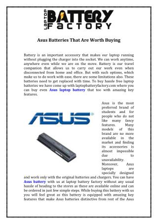 Asus Batteries That Are Worth Buying