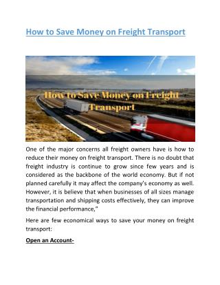 How to Save Money on Freight Transport