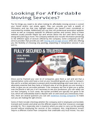Looking For Affordable Moving Services?