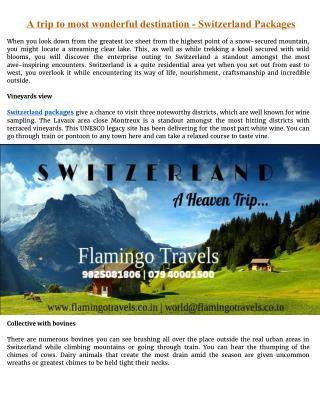 A trip to most wonderful destination - Switzerland Tour