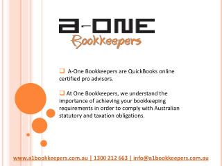 Online Accounting and Bookkeeping Services at A-one Bookkeepers