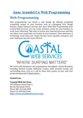 Anne Arundel Co Web Programming