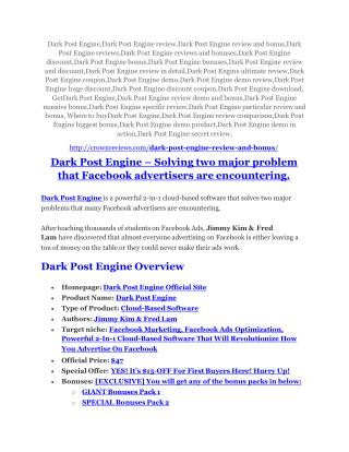 Dark Post Engine review & Dark Post Engine $22,600 bonus-discount