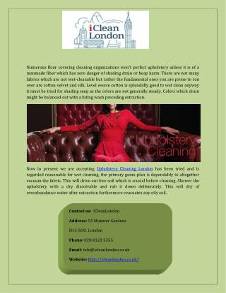 Get Upholstery Cleaning London