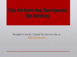 Tips For Selecting Sacramento Tax Services