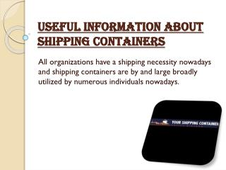 Useful Information about Shipping Containers