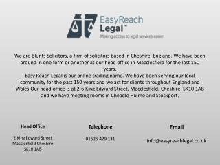 Easy Reach Legal - Family lawyers in Macclesfield