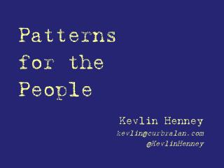 Patterns for the People