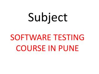 Software Testing Course Pune