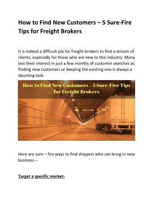 5 Sure-Fire Tips for Freight Brokers