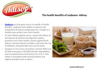 The health benefits of soybeans -Adisoy