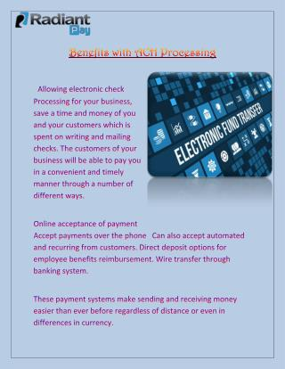 Electronic Check Payment Solutions - Radiant Payment Gateway Solution