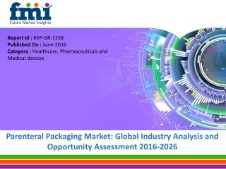 Parenteral Packaging Market Will hit at a CAGR of 11.2% from 2016 to 2026