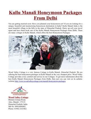 Kullu Manali Honeymoon Packages From Delhi