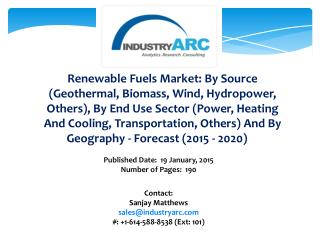 Renewable Fuels Market: high demand for biofuel production for automobiles during 2015-2020
