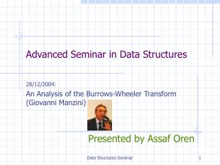 Advanced Seminar in Data Structures