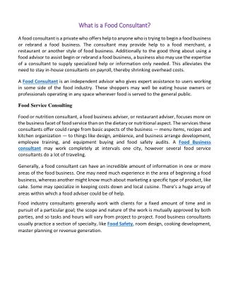 What is a Food Consultant?