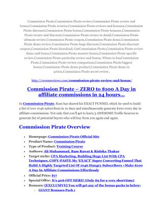 Commission Pirate review-(MEGA) $23,500 bonus of Commission Pirate