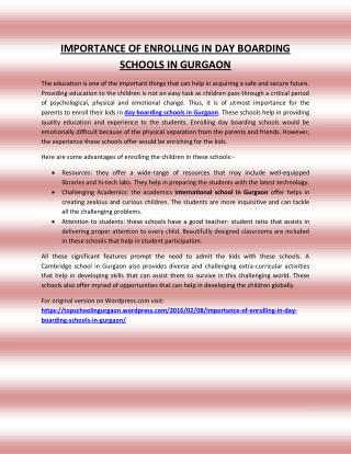 IMPORTANCE OF ENROLLING IN DAY BOARDING SCHOOLS IN GURGAON