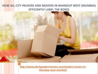 How All City Packers and Movers in Bhandup West (Mumbai) Efficiently Label the Boxes.