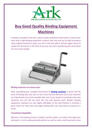 Buy Good Quality Binding Equipment Machines