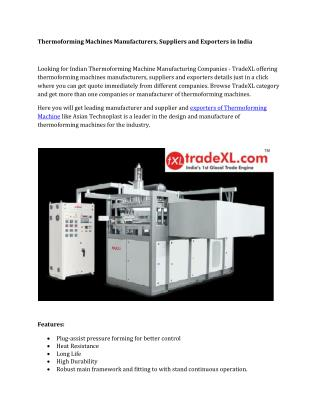Thermoforming Machines Manufacturers, Suppliers and Exporters in India
