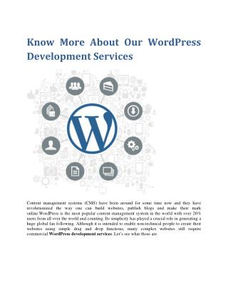 Know more about our wordpress development services