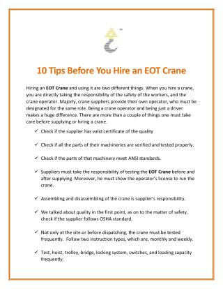10 Tips Before You Hire an EOT Crane
