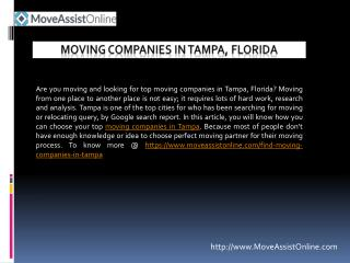 Best Utility Providers and Moving Companies in Tampa