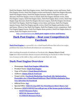 Dark Post Engine Review-TRUST about Dark Post Engine and 80% discount