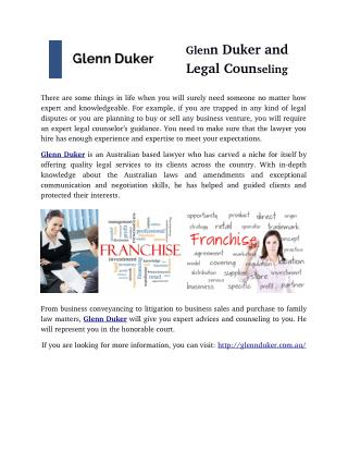 Glenn Duker and Legal Counseling