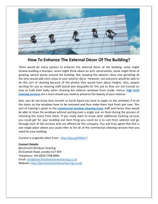 How To Enhance The External Décor Of The Building?