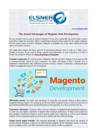 The Actual Advantages of Magento Web Development