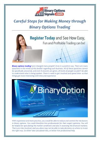 Careful Steps for Making Money through Binary Options Trading
