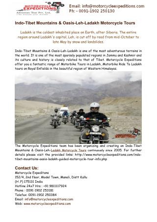 Motorbike Tours in Ladakh,Motorcycle Ride To Ladakh