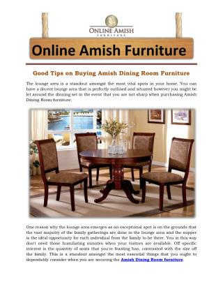 Good Tips on Buying Amish Dining Room Furniture